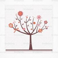 scrapbook blommig träd vektor