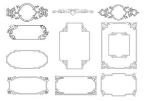 Skisserad dekorativ ram vektor pack