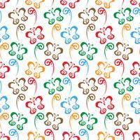 Schmetterlingshand gezeichneter bunter Musterhintergrund vektor