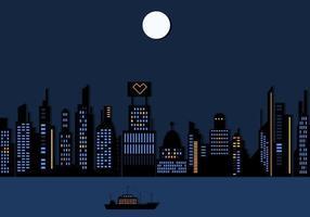 Nachtzeit-Stadt-Wolkenkratzer-Tapeten-Vektor