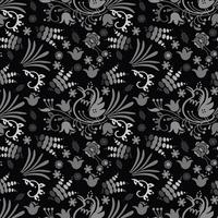 schöne Vogelblumenmuster-Hintergrundhand gezeichnet mit dunkler Farbe