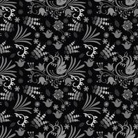 vacker fågel blommönster bakgrund handritad med mörk färg