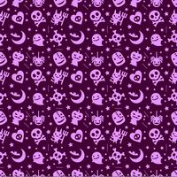 söt halloween mönster bakgrund med lila färg vektor