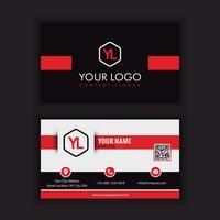 Modernt kreativt och rent visitkort med röd blac kcolor vektor