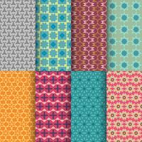 Set med sömlösa dekorativa geometriska former mönster