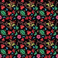 sömlöst blommönster med slät färgbakgrund vektor