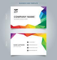 Företagskort mall design abstrakt färgstark låg polygon stil på vit bakgrund. vektor