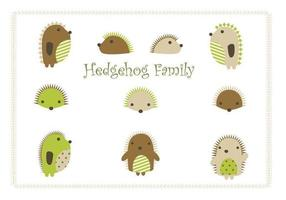 Cartoon hedgehog vector family pack