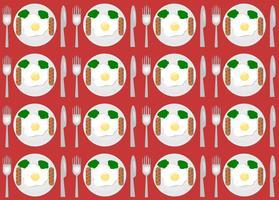 Sats med sömlöst mönster stekt ägg på en tallrik med gaffel och kniv i toppsikt. vektor picknick illustration.