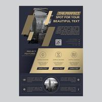 Golden Mörkblå Flyers Business Brochure vektor