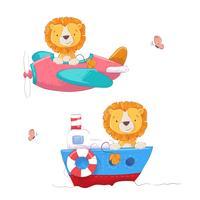 Ange söt tecknad lejon på ett flygplan och båt barn clipart. Vektor illustration