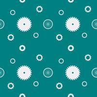 Nahtlose Musterhintergrundzähne übersetzt Zahnräder. Weiße Gänge auf dunkelgrünem Hintergrund. Design-Konzept-Vektor-Illustration.