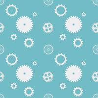 Nahtlose Musterhintergrundzähne übersetzt Zahnräder. Weiße Gänge auf blauem Hintergrund. Design-Konzept-Vektor-Illustration.