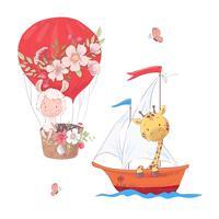 Ställ tecknad gullig lama ballong och giraff på segelbåt barn clipart. vektor