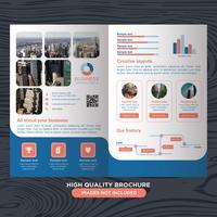 Blaue Business Fold Broschüre vektor
