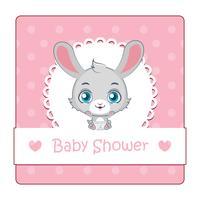 Söt tecken för baby shower med kanin