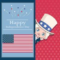 4 juli hälsningskort med Uncle Sam vektor