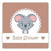 Baby showerkort med söt koala
