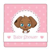 Söt tecken för baby shower med hund
