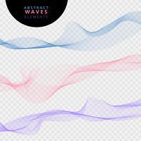 Sats av abstrakta linjer vågor på transparent bakgrund.