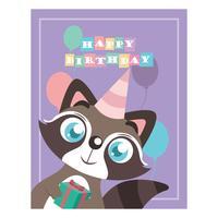 Födelsedag hälsning med söt tvättbjörn vektor