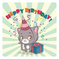 Nette graue Katze, die Geburtstag feiert vektor