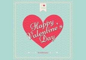 Retro Valentinsdag Bakgrund Vector