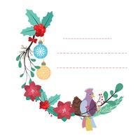 Härlig anteckningsblocksmall med fågel- och blommedesign vektor