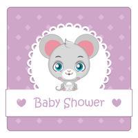Baby shower kort med söt mus