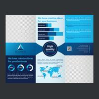 blå trifold företagsbroschyr