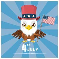 Patriotischer Adler, der die Flagge von USA hält