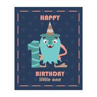 Födelsedags hälsning med monster vektor
