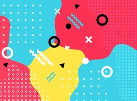 Abstrakte geometrische Form mit Linie und Punkte kopieren modische Memphis-Art auf buntem Hintergrund.