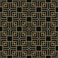 Abstraktes quadratisches geometrisches Muster mit Linien. nahtloser Vektor Gold Hintergrund.