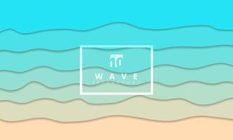Abstrakt sommarvåg blå sjökusten bakgrunds papper klippt stil. vektor