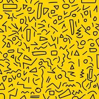 Hand zeichnen schwarze geometrische Stile Memphis-Musters der Achtzigerjahre-neunziger Jahre auf gelbem Hintergrund.