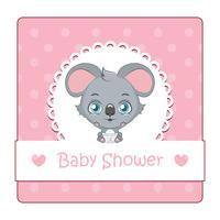 Söt tecken för baby shower med koala