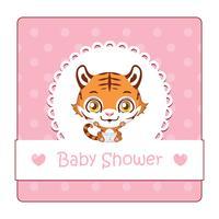 Söt tecken för baby shower med tiger