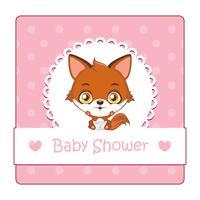 Söt tecken för baby shower med räv
