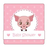Söt tecken för baby shower med gris