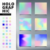 Abstrakta mallar uppsättning trendig färgstark ljus livlig holografisk gradient bakgrund vektor