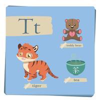 Buntes Alphabet für Kinder - Buchstabe T vektor
