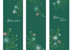 Smaragd blommig banner vektor pack