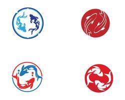 Karpfen Koi Design auf weißem Hintergrund. Tier. Fisch-Symbol. Unterwasser Leicht bearbeitbar geschichtet