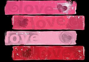 Grungy Love Banner Vector Pack