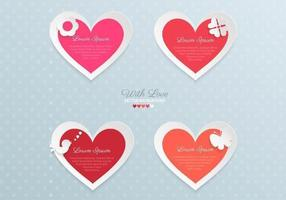 Papier Valentinstag Herz Vektor Pack