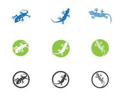 Eidechsen-Chamäleon-Gecko-Schattenbildschwarzes vektor