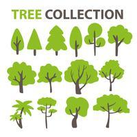 Flache Baumsammlung Zum Verzieren des Hintergrunds eines Comic-Baums