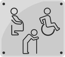 Toalettskyltlinjeikon. funktionshindrad person, gravid kvinna och gammal man.