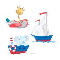 Satz nette Karikaturtiergiraffenhasen und -elefanten auf einem See- und Lufttransport, einem Segelbootflugzeug und einem Dampfschiff für die Illustration eines Kindes.